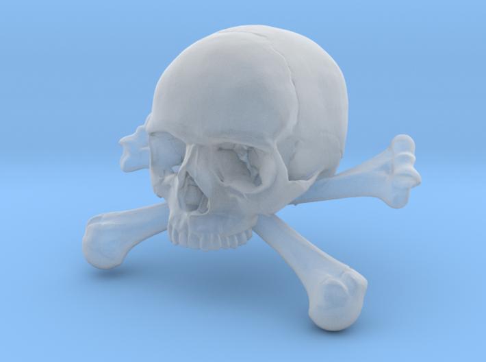 58mm 2.28in Skull & Bones Skull Crane Schädel 3d printed
