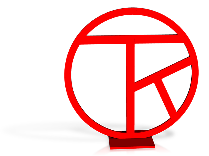 Chop with artist's initials, red, 3in, with stand 3d printed