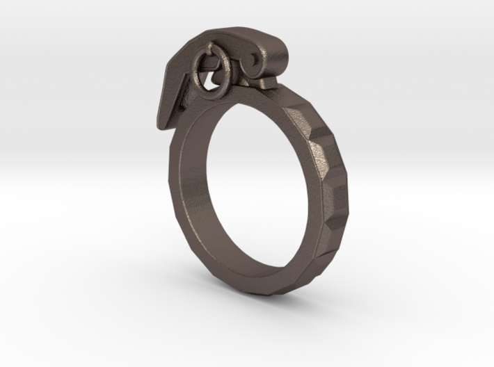The Gringade - Grenade Ring (Size 10) 3d printed