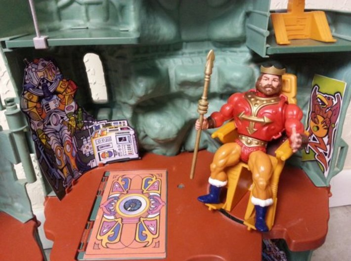 Replacement crown and spear for 1980s King Randor 3d printed