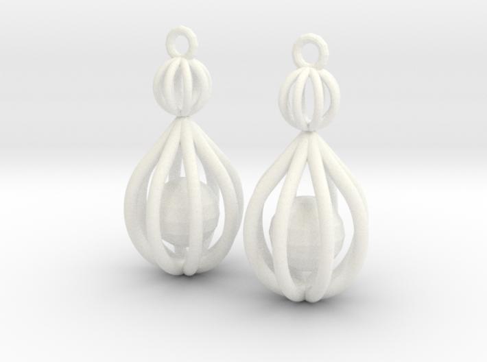 Cage Drop Earrings 3d printed