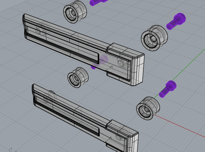 AJ10004 Rear Door Hinges (SCX10) 3d printed Parts can be glued or screwed in position (screws not included)