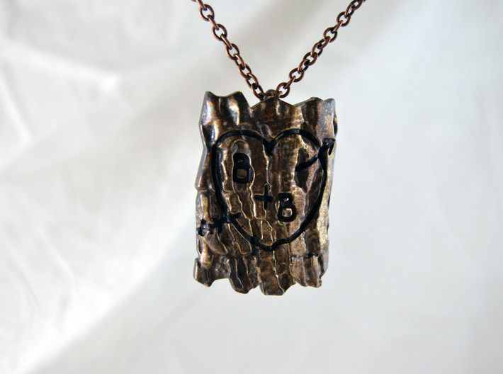Personalized Tree Bark Pendant 3d printed Polished Silver, Patina and Engraving emphasis available at Etsy