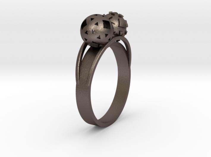 Diam=17. Bague Toi Et Moi. Ring Duo Sphere. 3d printed