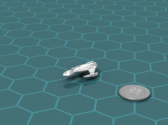 Ngaksu Fury 3d printed Render of the model, with a virtual quarter for scale.