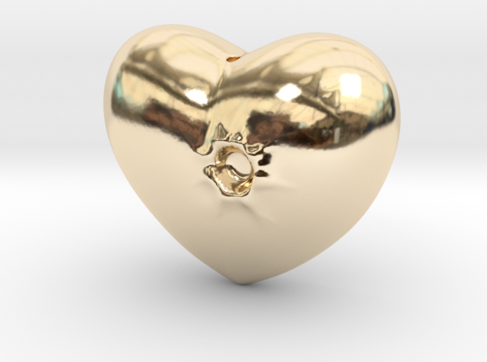 Heart with a bullet hole 3d printed