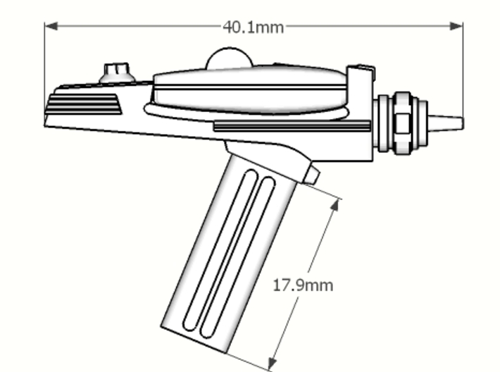 1:6 scale type 2 phased laser pistol 3d printed