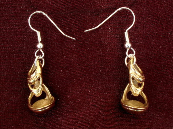 Julia's Basket Earrings 3d printed Front view printed in polished brass!