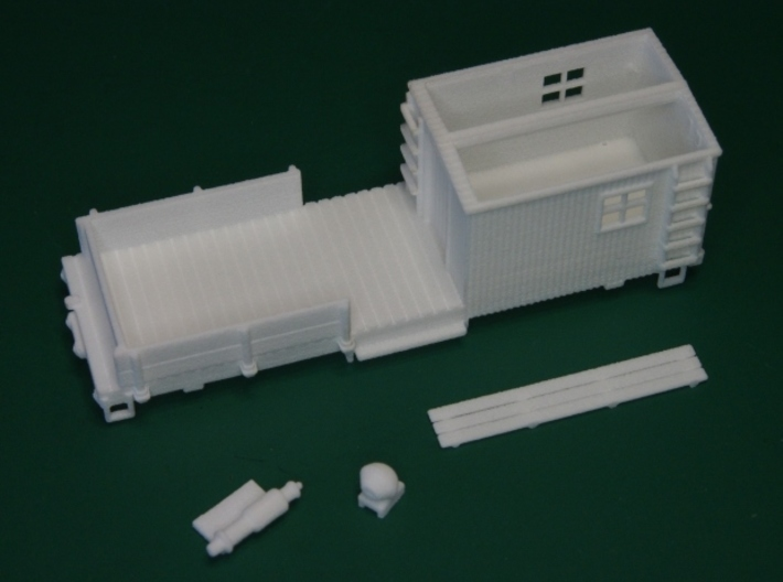 HOn30 Work Car (MOW type C) 3d printed The model separated into its individual parts