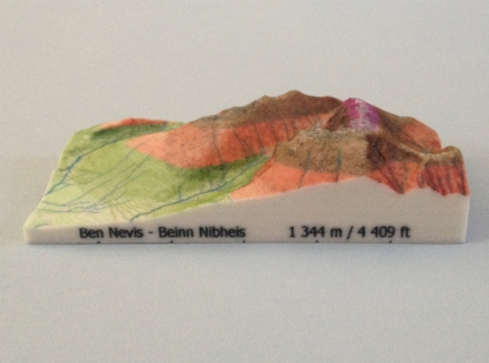 Ben Nevis - Relief 3d printed Photo of Ben Nevis - Relief model (note: new height of Ben Nevis of 1 345 m is now printed on the model)