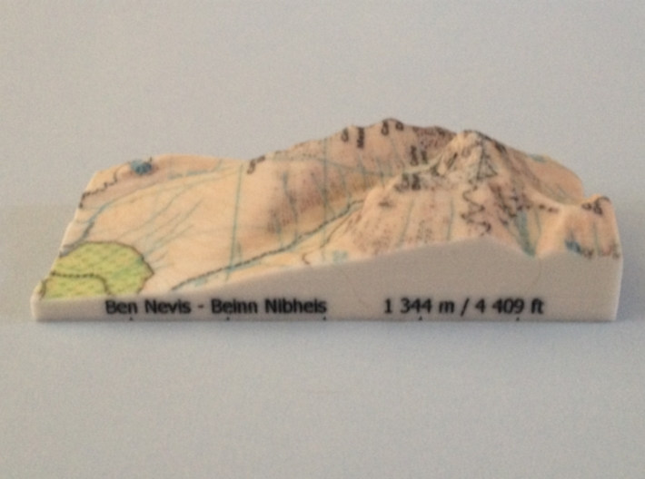 Ben Nevis - Map 3d printed Photo of Ben Nevis - Map model (note: new height of Ben Nevis of 1 345 m is now printed on the model)