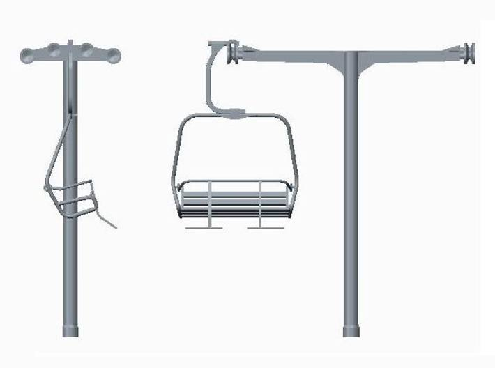 Ski Lift Tower No Base 3d printed Tower and chair (sold separately) front & side view