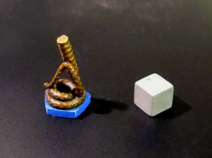 "Catcher Tokens (5pcs) - ""Whip"" version 3d printed Painted token (pentagon base). 10mm cube for scale."