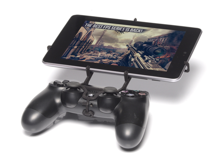 Controller mount for PS4 & Sony Xperia Z3 Tablet C 3d printed Front View - A Nexus 7 and a black PS4 controller