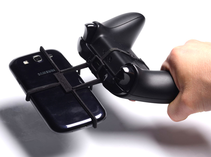 Xbox One controller & Celkon A64 3d printed In hand - A Samsung Galaxy S3 and a black Xbox One controller