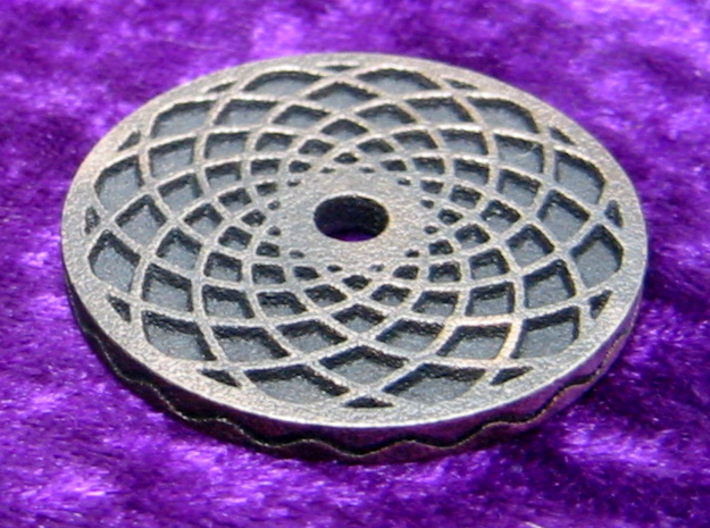 Labyrinth coin 3d printed spiral side and edging