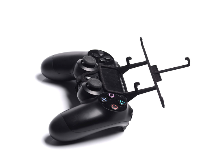 PS4 controller & Unnecto Quattro Z 3d printed Without phone - A Samsung Galaxy S3 and a black PS4 controller