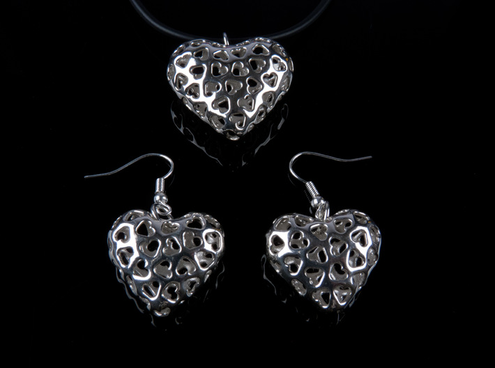 Small hearts, Big love (from $15) 3d printed Showing Pendant + Earrings