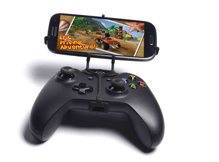 Xbox One controller & Cat B15 3d printed Front View - A Samsung Galaxy S3 and a black Xbox One controller