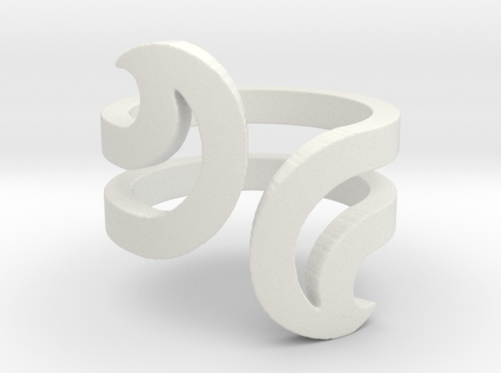 Opposite Waves Ring 3d printed