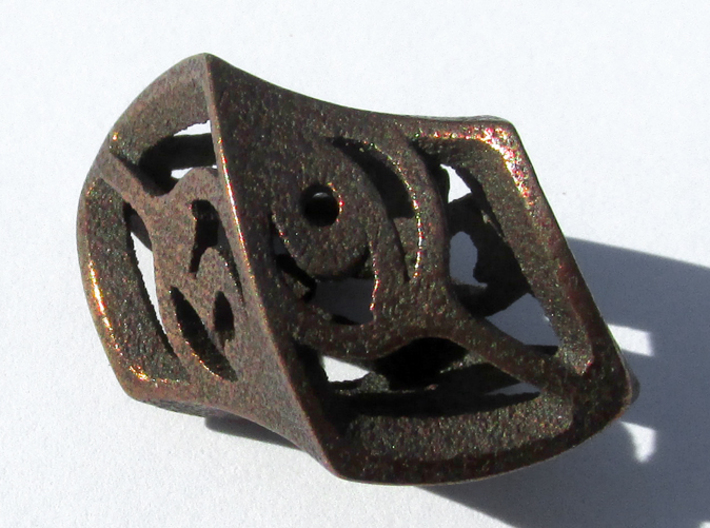Twisty Spindle Die6 3d printed In Polished Bronze Steel