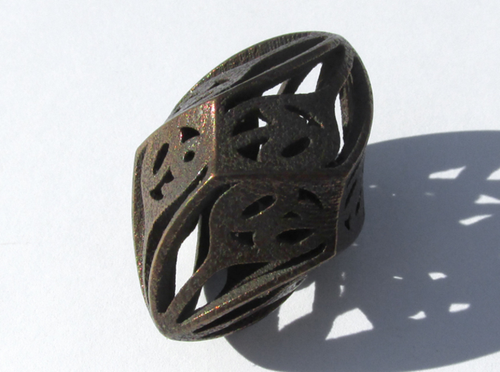 Twisty Spindle d10 Decader 3d printed In Polished Bronze Steel
