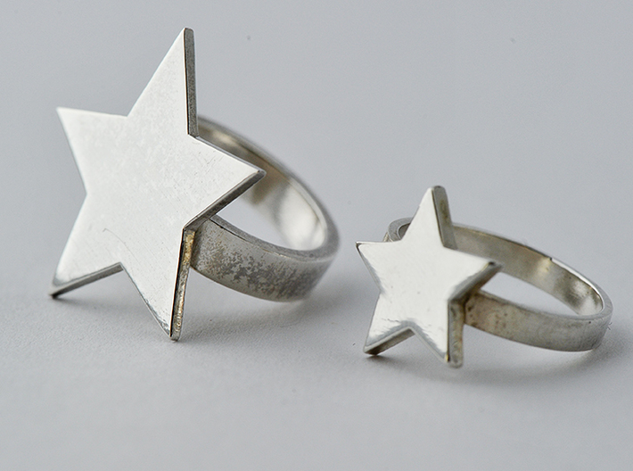 Silver Star Ring (large star) size 6 3d printed The larger star ring in the photo