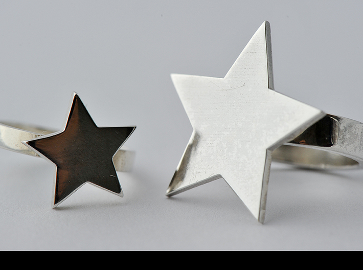Silver Star Ring (large star) size 6 3d printed larger star ring in this photo