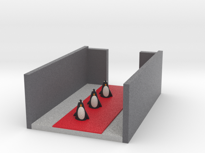 Penguins On Red Carpet Of New Movie Penguin Run 3d printed