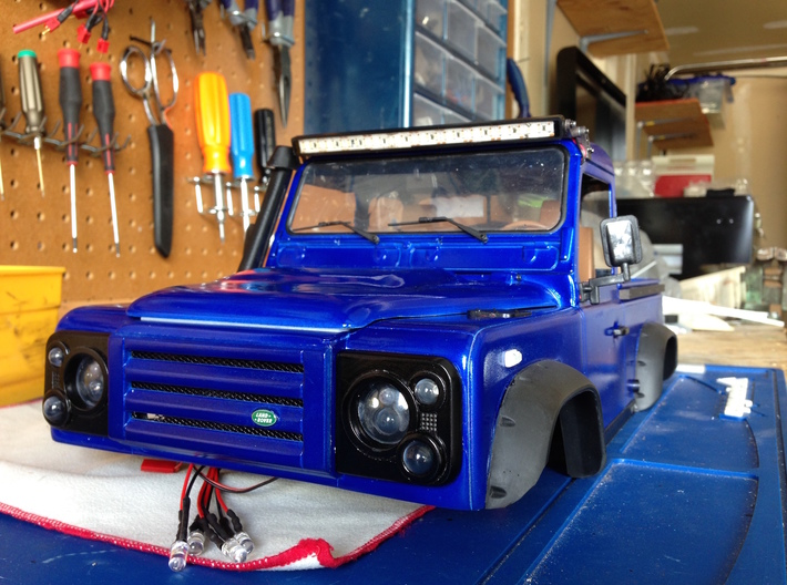 Defender X-Tech Grill 3d printed Finished with Automotive primer, paint, and clear coat. Scale emblem and mesh added for detail.