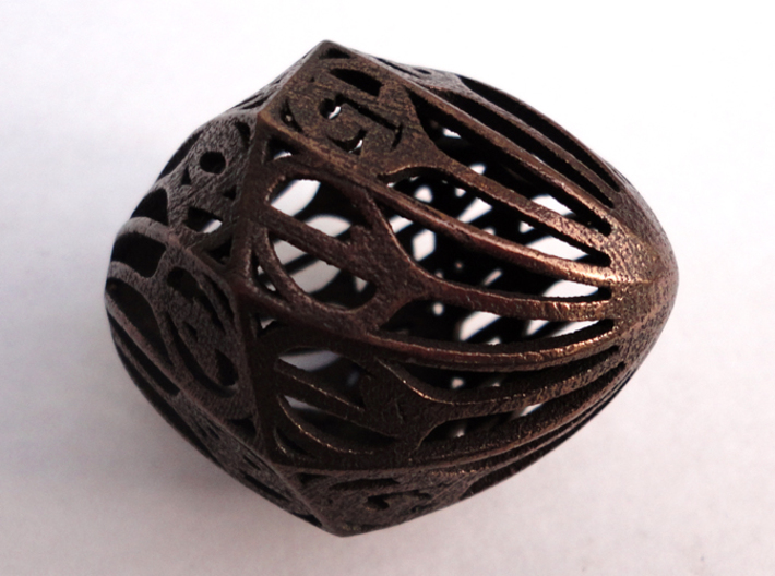 Twisty Spindle d20 3d printed In Polished Bronze Steel