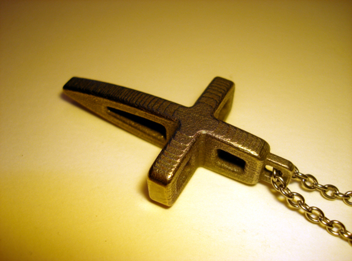 Structural Cross Pendant 3d printed Stainless Steel - Photo of an actual printed item (chain not included)
