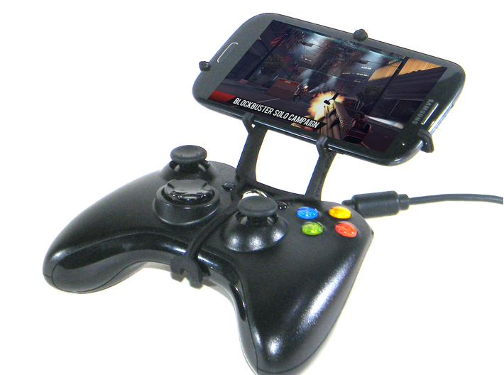 Xbox 360 controller & Maxwest Gravity 6 3d printed Front View - A Samsung Galaxy S3 and a black Xbox 360 controller