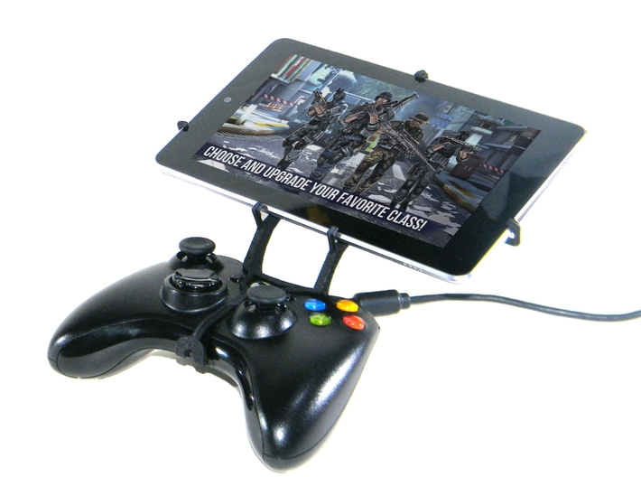 Xbox 360 controller & Samsung Galaxy Tab 4 10.1 3d printed Front View - A Nexus 7 and a black Xbox 360 controller