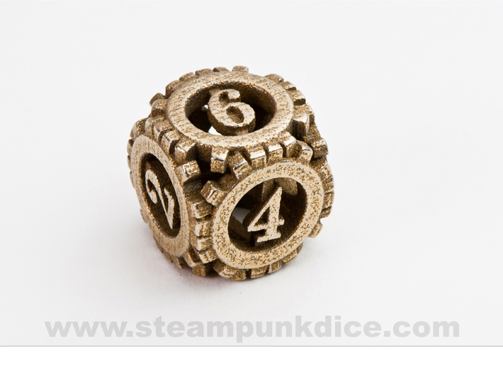 Steampunk Gear d6 3d printed Stainless Steel