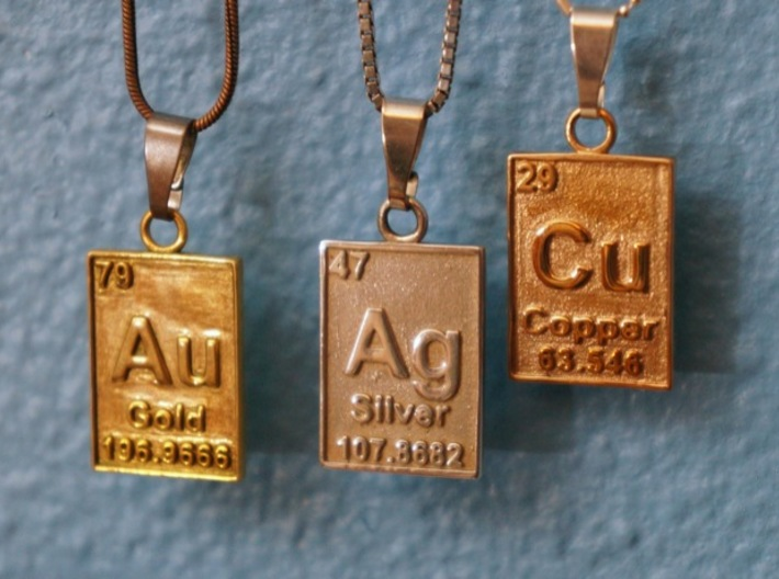 Copper Periodic Table Pendant 3d printed With It's Friends, Silver and Gold.  Polished Bronze & Silver, And Gold Plated Brass