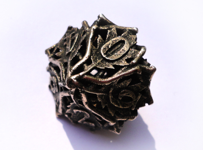 Botanical d10 (Oak) 3d printed In stainless steel and inked