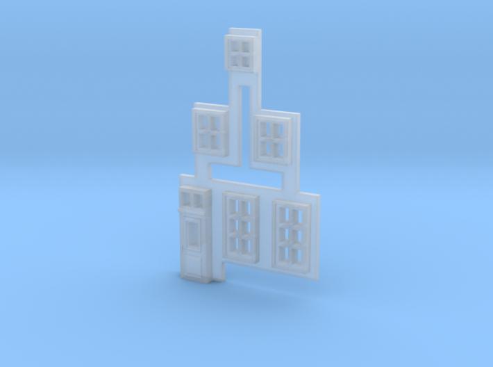 Gevel 1 in schaal N, hiervan de ramen 3d printed