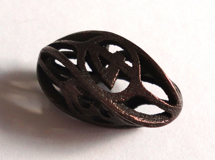 Twisty Spindle d4 3d printed In Polished Bronze Steel