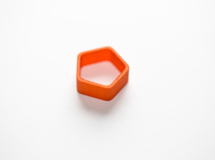 Poly5 Ring, Size US5 3d printed Poly5 Ring in Orange Strong & Flexible