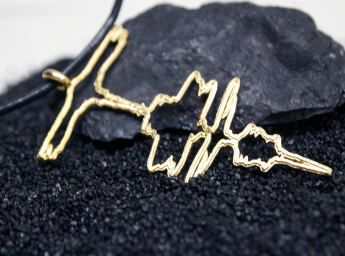 "German ""I Love You"" Sound Wave Necklace 3d printed "" Ich liebe dich"" In Polished Brass"