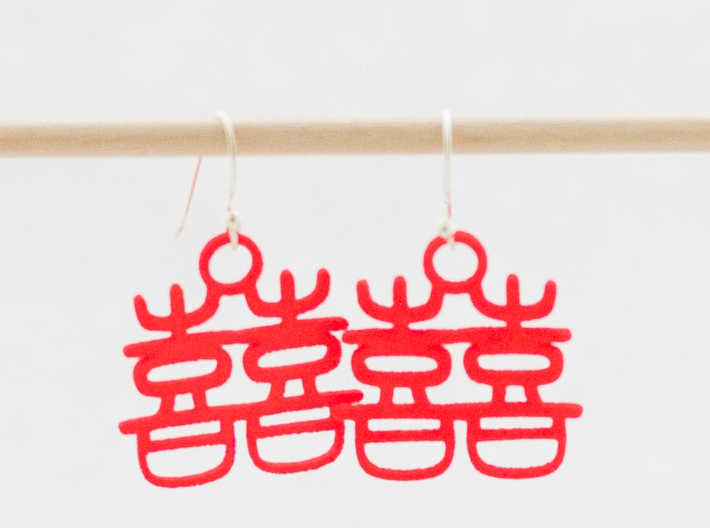 Double Happiness Earrings 3d printed