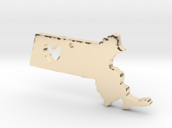 I love Massachusetts Necklace 3d printed