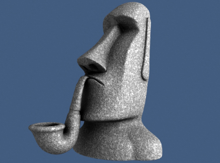 Moai Pipe Head Statue 3d printed