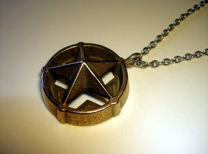 Star Pendant 3d printed Stainless steel - Photo of an actual item (chain not included)