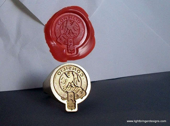 "Custom Signet Ring 3d printed Scottish Crest badge custom signet ring. This is an example of a ""function"" ring, reversed for sealing."