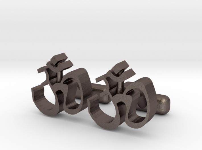 "Ohm Symbol Cufflinks, Part of ""Spirit"" Collection 3d printed"