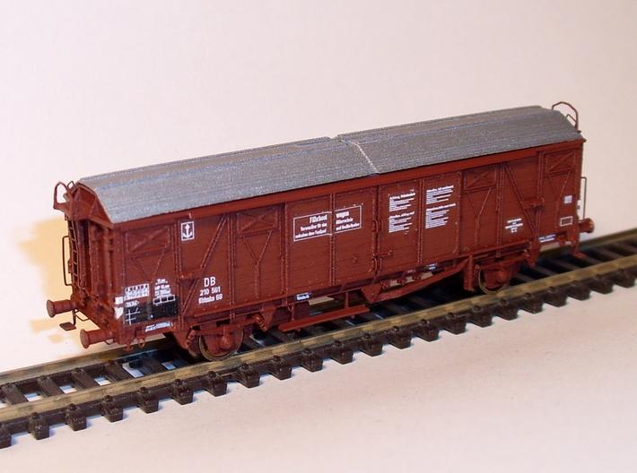 2301 1/160 Gedeckter Fährbootwagen Gbtmks66 der DB 3d printed Modell lackiert, mit allen Zurüstteilen und beschriftet
