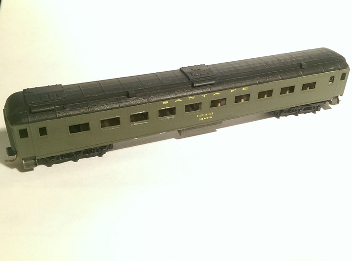 Santa Fe Heavyweight Chair Car - Roof - 3000-3010 3d printed This model is for the roof ONLY - the coach was kitbashed.