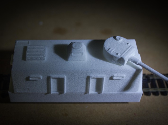 Command / Platoon / Medical Car Europe #1 (n-scale 3d printed Assembled command car with direct fire gun, command turret and vented blanking plate.